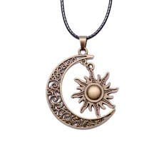 Trendy Crescent Moon& Sun Charm Necklace Black Leather Silver Color Long Chain Cheap Necklaces Jewelry For Women Or Man