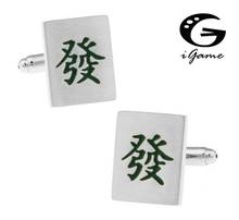 iGame Factory Price Retail Men's Cufflinks Green Color Brass Matrial Mahjong Design Cuff Links