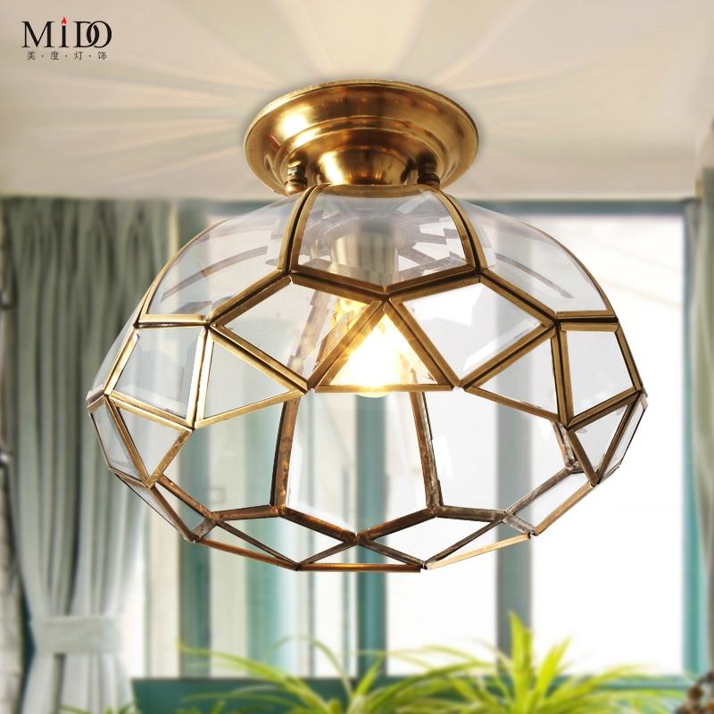 Modern fashion American copper nest ceiling light glass lampshade for kitchen aisle corridor entrance e27 lampholder<br><br>Aliexpress