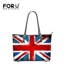 FORUDESIGNS Vintage Handbags Women US UK Flag Designer Bags Striped Printed High Quality PU Leather Ladies Tote Bolsas Feminina