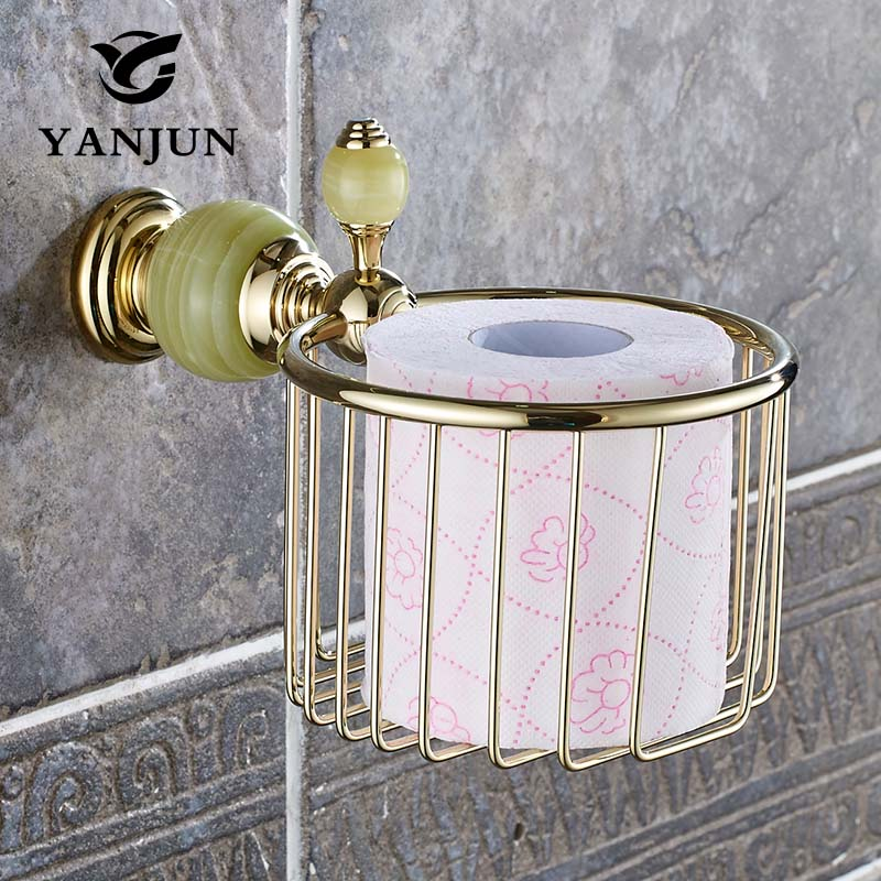 Yanjun European-Style Jade Stone Golden Brass Holder Paper Towels Basket Toilet Paper Holder Accessories For Bathroom YJ-8156<br>