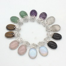 Kraft-beads Elegant Style Silver Plated Amethysts Rose Pink Quartz With Lotus Flower Black Agates Pendant Opal Jewelry(China)