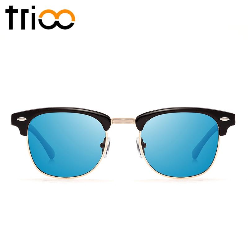 TRIOO Blue Mirror Polarized Sunglasses Women Brand Designer Half Frame Fashion Sun glasses Female Summer UV400 Eyewear Lunette<br><br>Aliexpress
