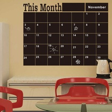 Monthly chalkboard Chalk Board Blackboard Removable Wall Sticker Month Plan Calendar Memo DIY Decal D0053