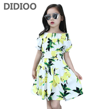 Girls Summer Dress Floral Princess Dresses Infant Cute Vestdio Girls Lemon Print Dresses Children Flower Dresses 2 8 10 12 Years
