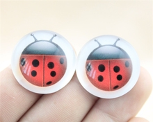 WYSIWYG 5pcs 25mm/20mm Ladybug Photo Pattern Domed Glass Cabochon Handmade Pendant G-0148(China)