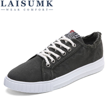 LAISUMK New Denim Shoes Men Non-slip Canvas Shoes High Quality Men's Casual Shoes Male Brand Loafers Breathable Fashion Sneakers