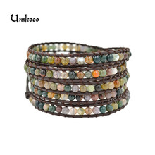 Buy 5 Wrap Bracelets India Stone Natural Leather Strand Bracelets Handmade Jewelry Wholesale Jewelry Woven Bracelets for $8.15 in AliExpress store