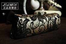 New vintage lace diamond bow shell ladies hand bags chain Mini Handbag women evening clutch bags crossbody bags for women