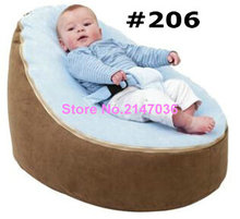 Suede Brown with blue cover Baby infant Bean Bag Snuggle Bed Portable Seat No Filling