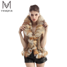 Free shipping 2016 hot new womens natural real rabbit fur vest with fox fur collar waistcoat/jackets rex rabbit knitted winter
