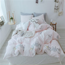 2018 Light Pink Cats Bedding Set 100% Cotton Fabric Twin Queen King Size 3/4Pc Print Duvet Cover Flat Sheet Pillowcases(China)