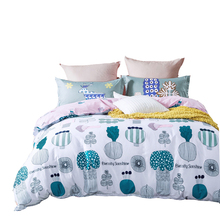 100% cotton comforter bedding sets queen twin double size,plants print comforter cover/pink bed sheets/green bedding pillowcase