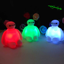 1 piece Cute 7 Colors Changing Creative Cartoon Baymax PVC LED Light Toys Gift For Kids