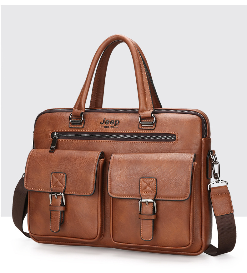 an elegant briefcase in brown with two pockets at the front
