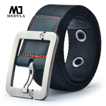 Medyla Men's Nylon Belt Leisure strap Student Outdoor Sports high quality mens striped military waist belt Ceinture Femme(China)