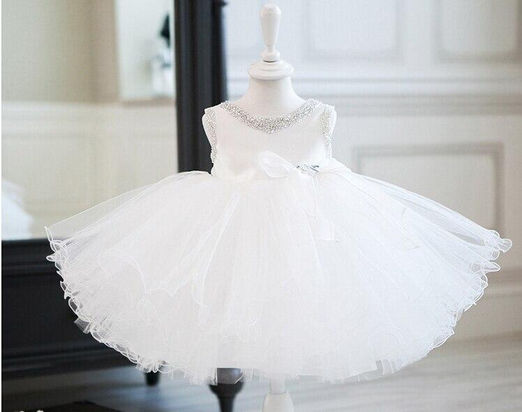 Elegant Summer girl birthday dresses toddler pearl tutu flower girl dresses for weddings white/black baptism dresses 2-11Y<br>