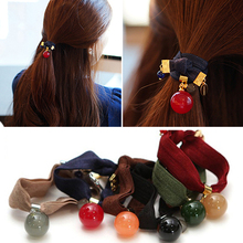 Women Hair Accessories Acetate Ball Hair Ties Metal Beads Ponytail Holder Elastic Hair Bands For Women  Hair Rope For Girls