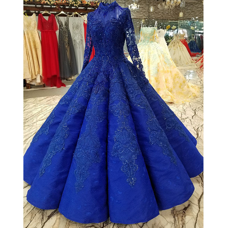Royal Blue Arabic Evening Dresses Long 2019 Floor Length Beaded Appliques Ball Gown Party Formal Dress Muslim Real Pictures(China)