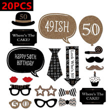 Buy photobooth 30th 40th 50th Happy Birthday Party Supplies Photo Booth Props 30 40 50 Years Man Woman Thirty Birthday Decoration for $1.39 in AliExpress store