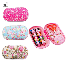 Portable mini travel sewing kits box with color needle threads pin scissor sewing set with case box home tools DIY handwork tool(China)