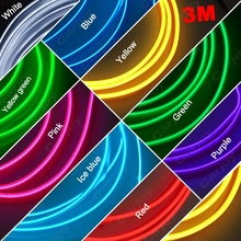 20pcs 3M 9-color Flexible Moulding EL Neon Glow Lighting Rope Strip With Fin For Car Decoration Red/Yellow/Blue/White  #CA3269