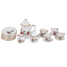 ABWE Best Sale 1/12 Doll House Miniature Porcelain Tea Set Dish Cup Plate Red Peony(China)