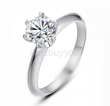 Charles&Colvard 1 carat 6 prongs 925 sterling silver moissanite ring 18k white gold  ring female  ring