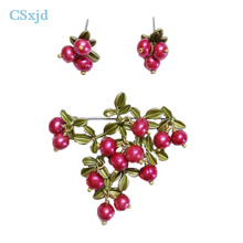 CSxjd vintage Natural Pearls brooch jewelry Green that bake Paint 2 Colours Cranberry brooch scarves buckle Cap clothes accessor
