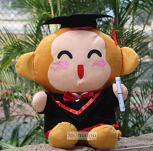 about 27 cm bachelor gown monkey plush toy Doctorial hat monkey doll souvenir gift graduation present w6413(China)