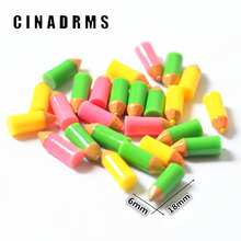 6*18mm Resin Colorful pencil miniature,back to school embelishments,resin D.I.Y flatback Cabochons(China)
