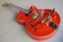 New Arrival Gre tsch brian setzer Semi Hollow Body Jazz Electric Guitar Bigsby Tremolo Gold Hardware In Orange 120110(China)