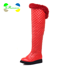 Women Snow Boots Over-The-Knee Warm Fur Lining Fur On Opening Slip On Wedge Pure Color Fashion Boot Woman Winter Shoes SB406