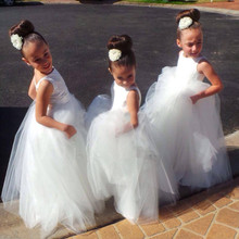 New Arrival 2016 Hand Made White Tulle Pretty Flower Girl Dresses Cheap Junior Bridesmaid Dress Baby Girl Dress With Buttons(China)