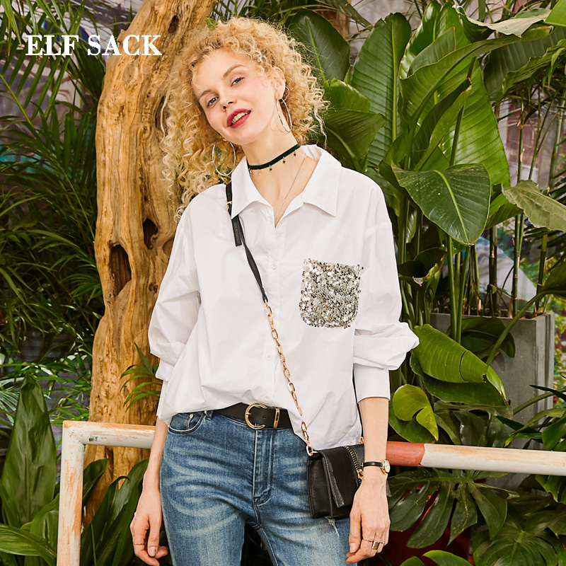 ELF SACK 2019 Spring New Cotton Shirts Woman Turn-down Collar Full Femme Blouse Streetwear Thin Loose Sequined Ladies Shirts