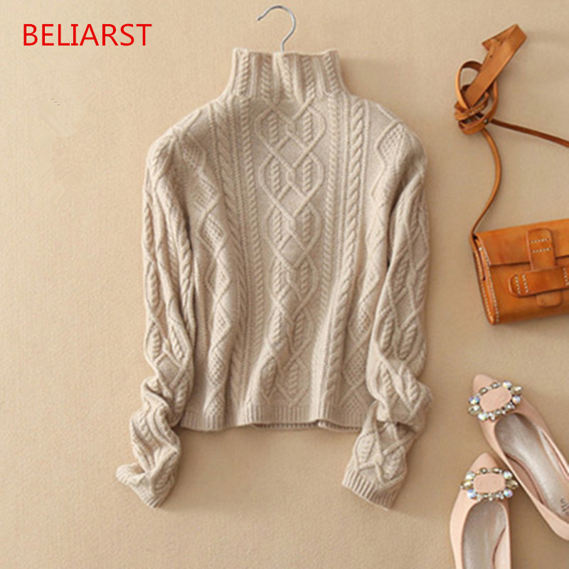 BELIARST Autumn and Winter New Cashmere Sweater Women Jacquard Pullover Thickening Semi-high-necked Sweater Knit Backing Shirt