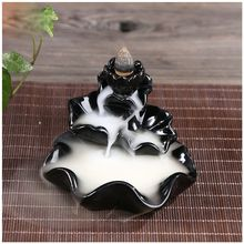 HOT SALE Ceramic Lotus Flower Incense Burner Holder #10 Black