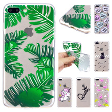 For iPhone7 Plus Fashion Ultra Thin Flexible TPU Case For Apple iphone 8 Plus Unicorn Banana leaves Soft Silicone Back Cover(China)