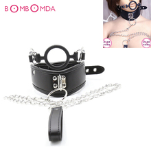 Buy Sex Adult Collar Leather Bondage Collar Mouth Gag Chain Leash Fetish Slave Neck Cuffs Restraints Sex Products Couples 3