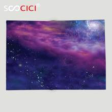 Custom Soft Fleece Throw Blanket Outer Space Decor Spiritual Dim Star Clusters Milky Circle Back with Solar System Elements