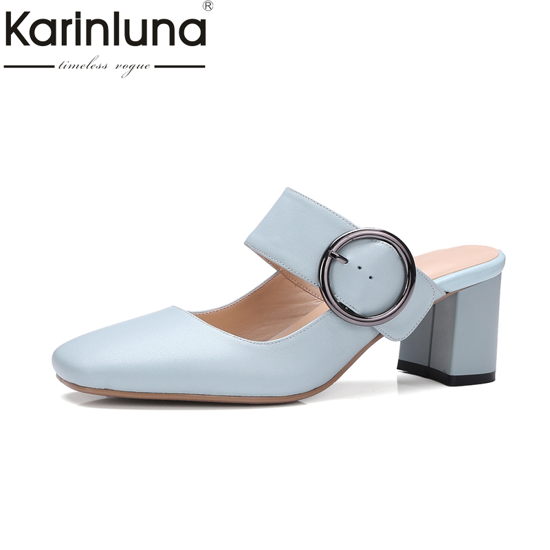 KarinLuna  Size 34-39 Big Buckle Slip On Chunky High Heels Women Summer Mules Party Wedding Shoes<br>