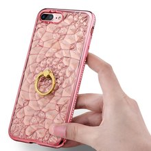 Coque For iPhone 7 Case Glitter 3D Crystal Soft silicon Cover  Bling Rhinestone Case For iPhone 7 Plus luxury case Stand Cover