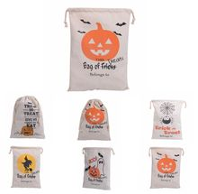 100pcs/lot hot Halloween Candy Gifts Bag Treat or Trick Drawstring Bag Cotton Canvas 36X48CM Kids Pumpkin Spider Tote Bags(China)