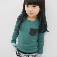 Factory Price! Toddler Baby Long Sleeve Crewneck T-shirt Pocket Deco Boy Girl Shirt Top Clothes Clothing Children Top Tees