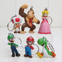 Super Mario Bros Donkey Kong Yoshi Peach Mario Luigi Toad Action Figure keychain 6pcs/set 3-7cm For Christmas Gifts