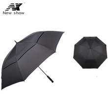 NX NEW  Large double-layer Golf umbrellas 110cm strongs windproof resistant man and women business long-handled umbrella outdoor