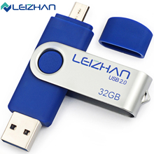 LEIZHAN USB Flash Drive 32GB Metal USB 2.0 Pen Drive 16GB Micro Flash Memory Stick 8GB Rotate Storage Device 64GB Pendrive 4GB