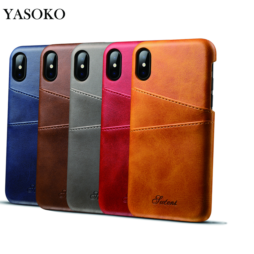 Luxury Leather Phone Case Apple iPhone X Half-wrapped Case Wallet Leather Back Cover Fashion Card Holder Phone Shell 6 Color