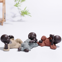 YXY Three Little Monk Tea Pet Ornaments Boutique Purple sand Handmade Chinese Ceramic Play Pendulum Accessories Conference Room(China)