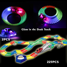 Flexible Glow race track Create A Road Diecast with 2PCS Flashing 5 LED light cars Luminous Glow in the Dark Educational toys(China)